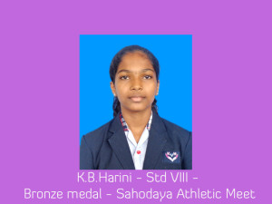 K.B.Harini - Std VIII - Bronze medal - Sahodaya Athletic Meet