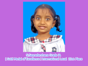 S.Saaradarshana Grade IA [ Gold Medal of Excellence ] International Leval  21st Place